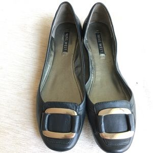 Nine West Navy flats with silver buckle
